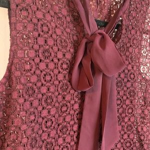 Banana Republic Tops - Banana Republic Burgundy Lace Tie Neck Blouse